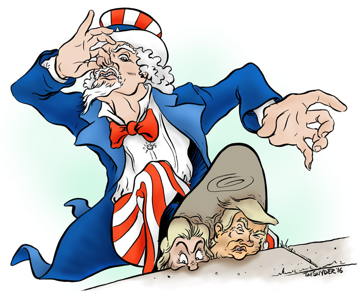 Uncle Sam Scrapes off the Stink of Hillary Clinton and Donald Trump
