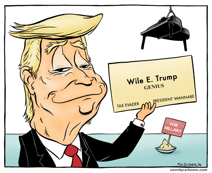 Donald Trump as a Wile E Coyote Styled Genius