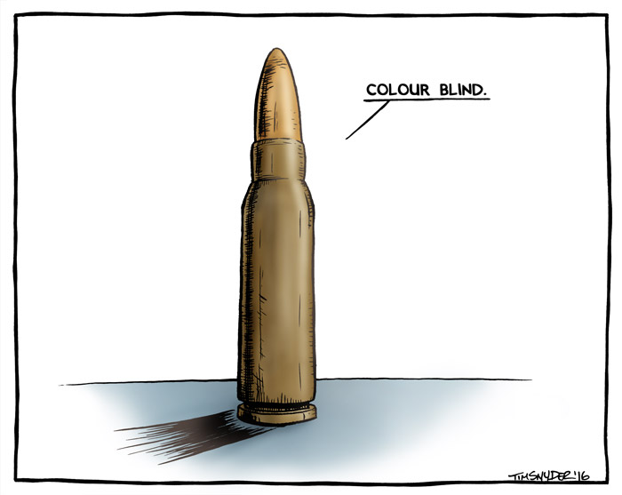 Bullets are colour blind