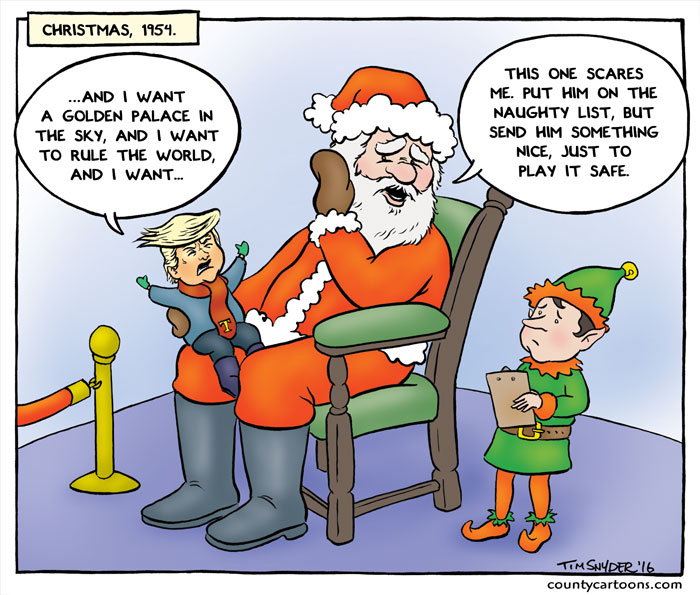 Trump sits on Santa's knee
