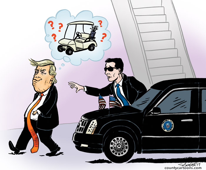 Trump can't find his Limo because he's looking for a golf cart
