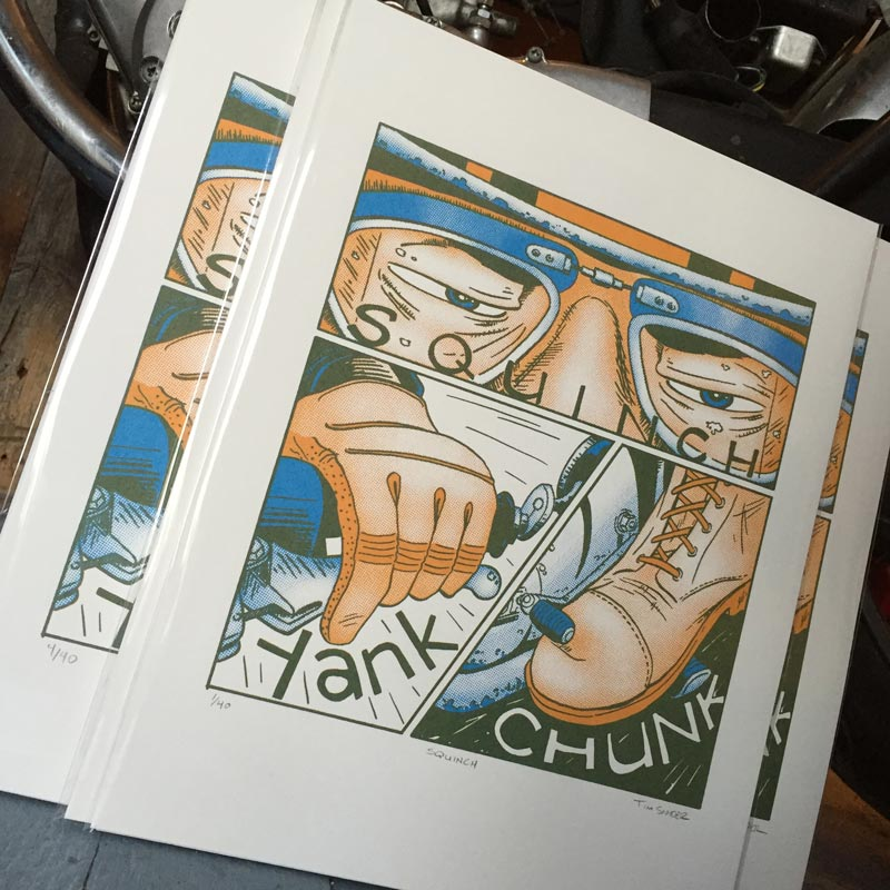 Squinch Motorcycle Screen Print